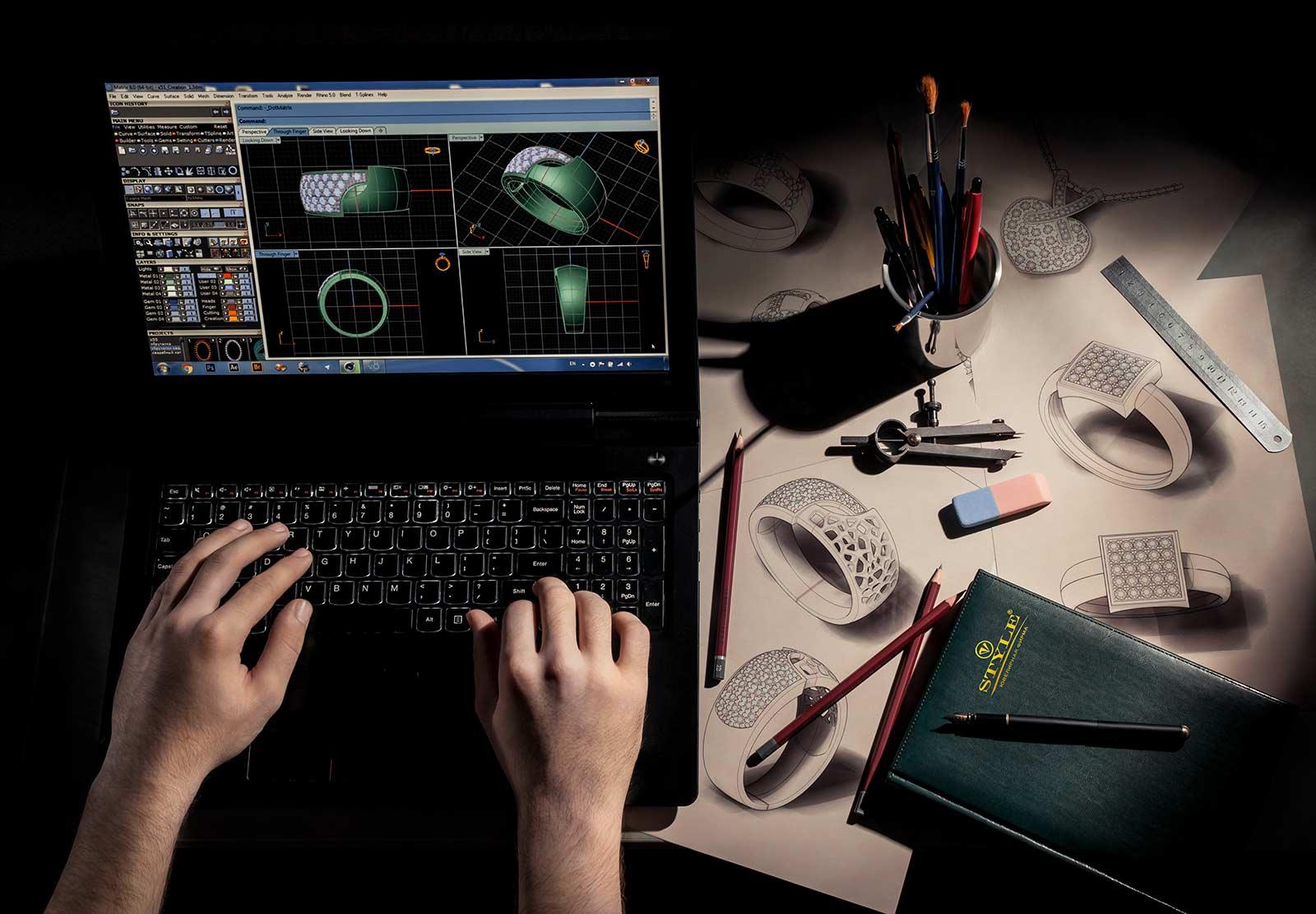 3D моделирование, дизайнерские эскизы ювелирных украшений